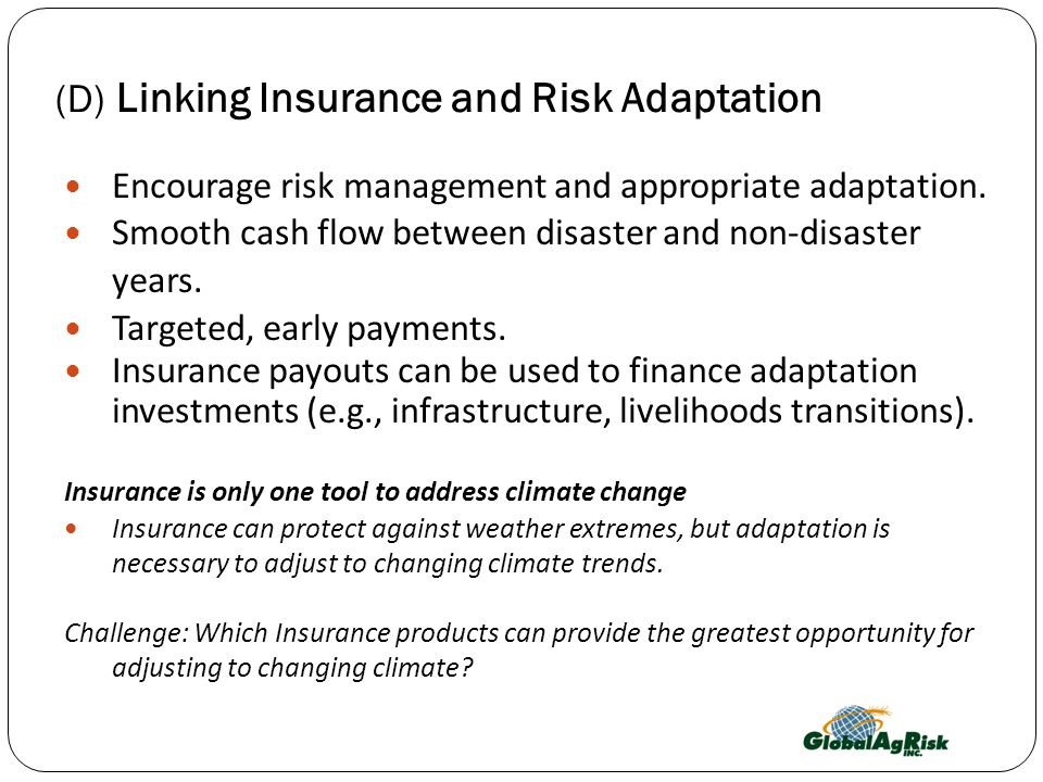 (D) Linking Insurance and Risk Adaptation