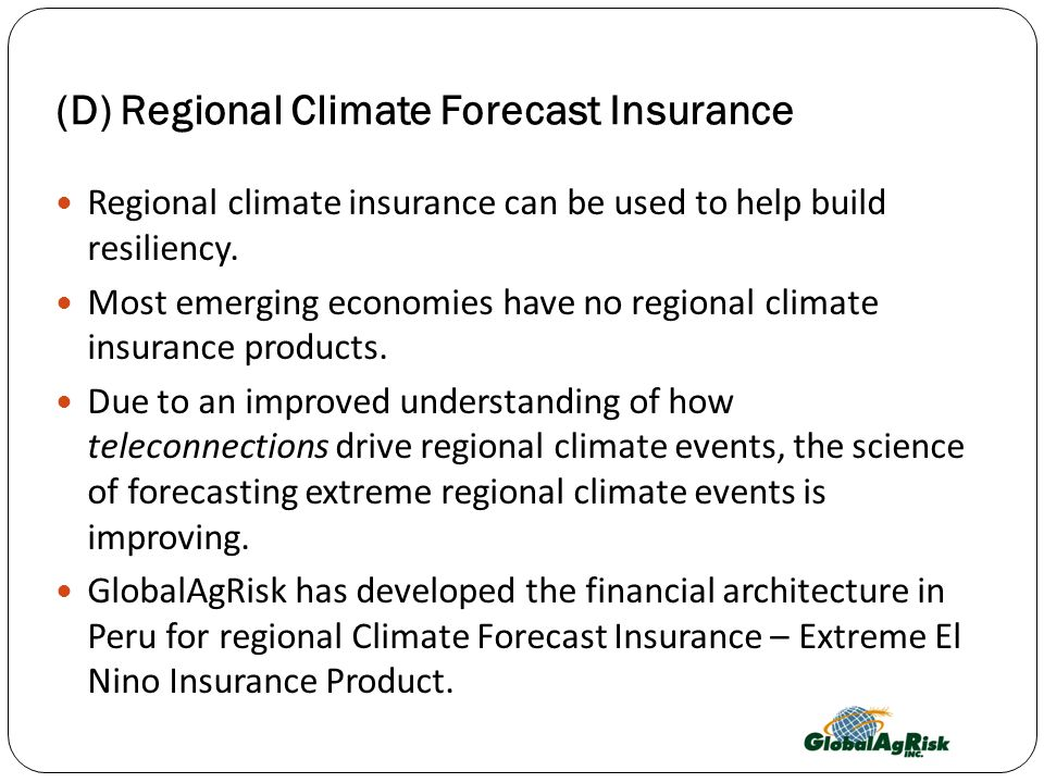 (D) Regional Climate Forecast Insurance