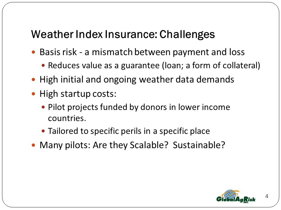 Weather Index Insurance: Challenges