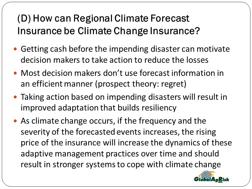 The Potential of Regional Climate Forecast Insurance