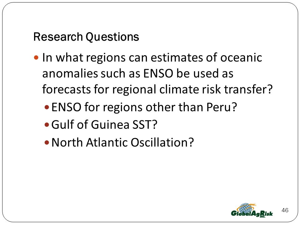ENSO for regions other than Peru Gulf of Guinea SST