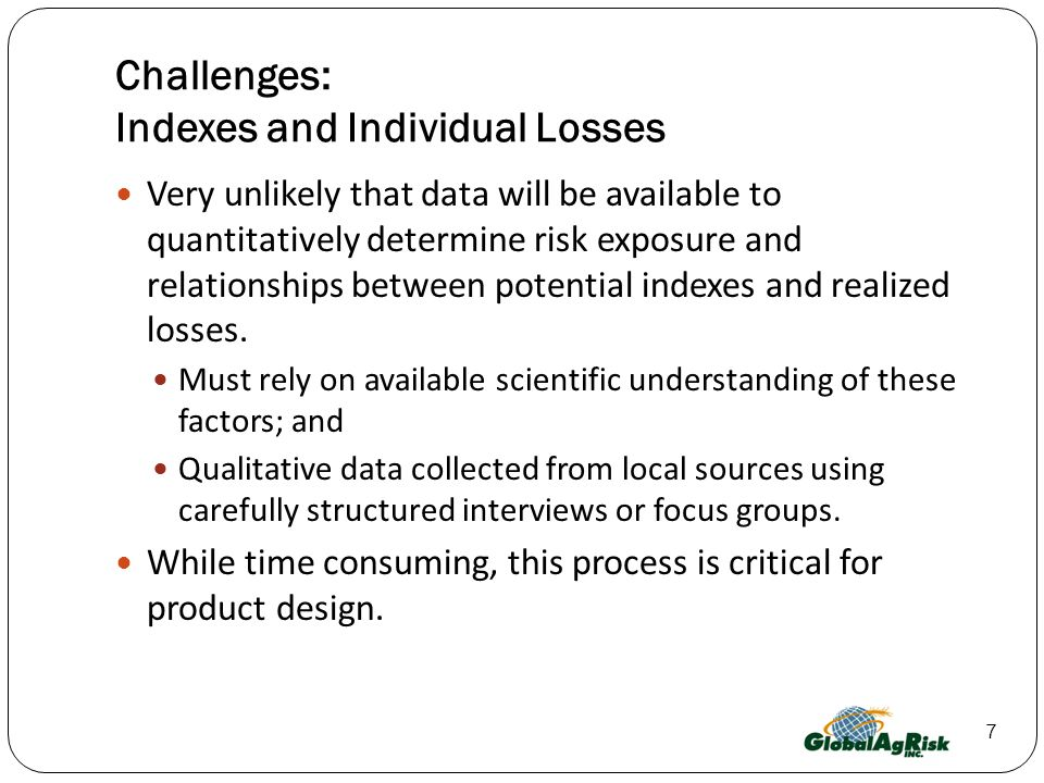 Challenges: Indexes and Individual Losses