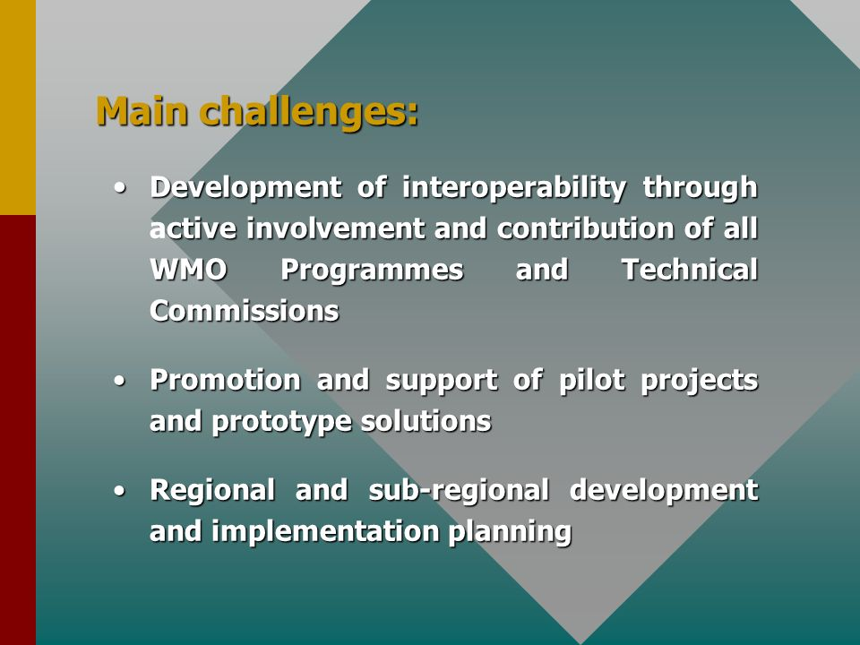 Main challenges: Development of interoperability through active involvement and contribution of all WMO Programmes and Technical Commissions.