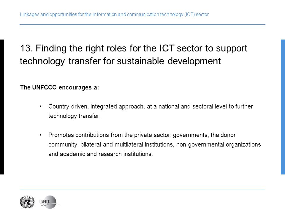 Presentation title Linkages and opportunities for the information and communication technology (ICT) sector.