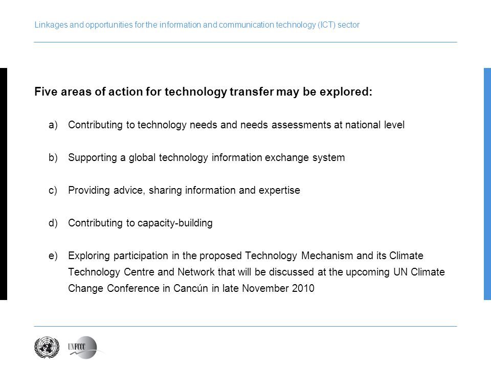 Five areas of action for technology transfer may be explored: