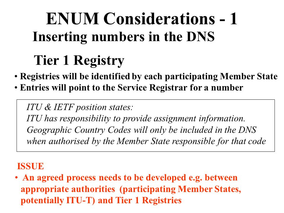 ENUM Considerations - 1 Inserting numbers in the DNS Tier 1 Registry