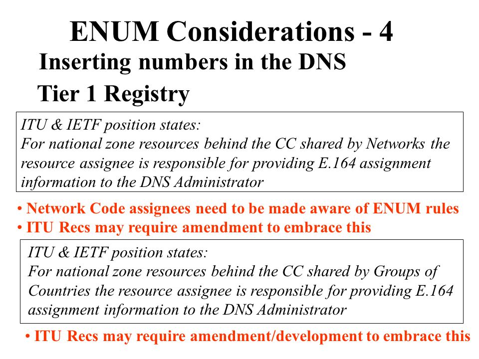 ENUM Considerations - 4 Inserting numbers in the DNS Tier 1 Registry