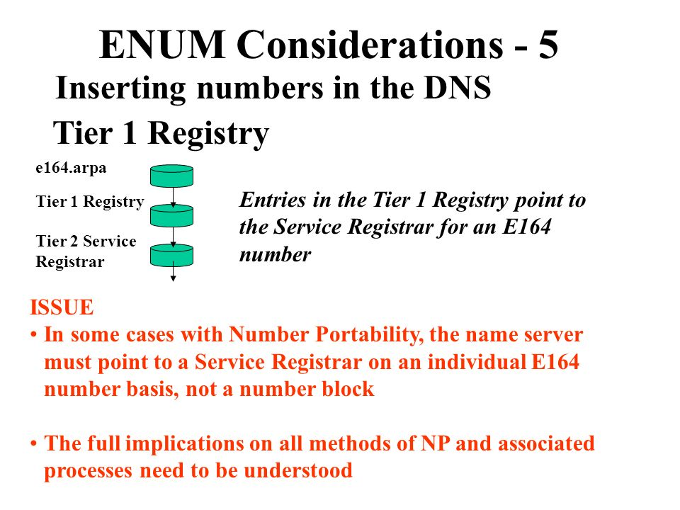 ENUM Considerations - 5 Inserting numbers in the DNS Tier 1 Registry