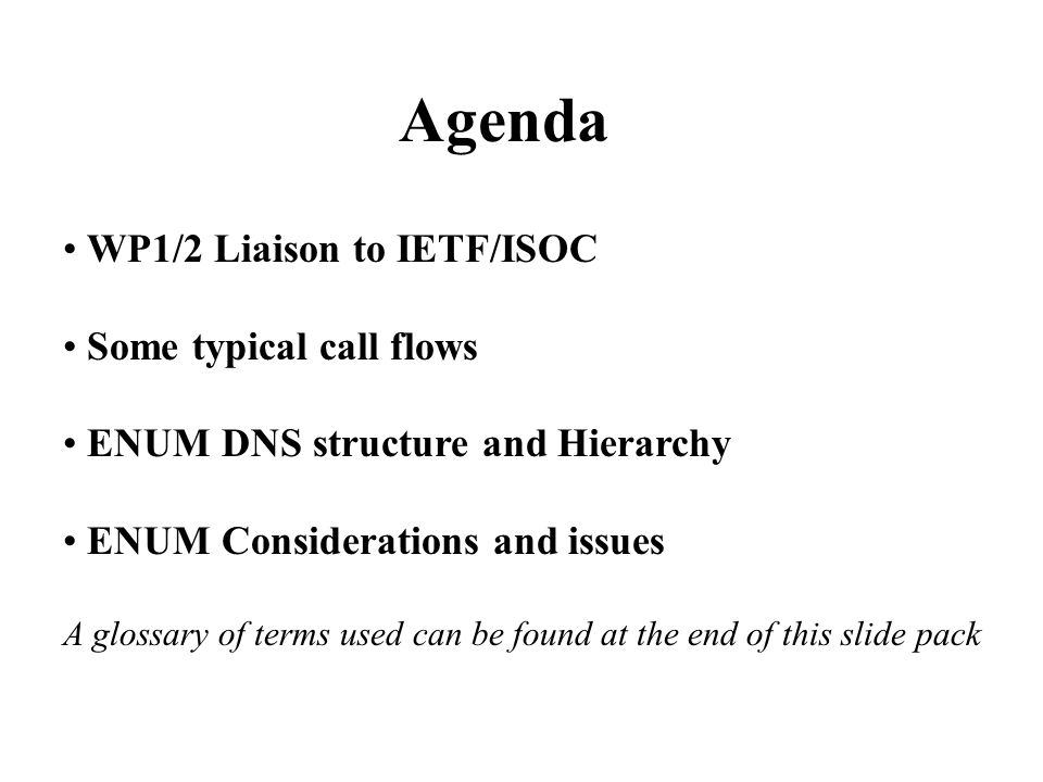 Agenda WP1/2 Liaison to IETF/ISOC Some typical call flows