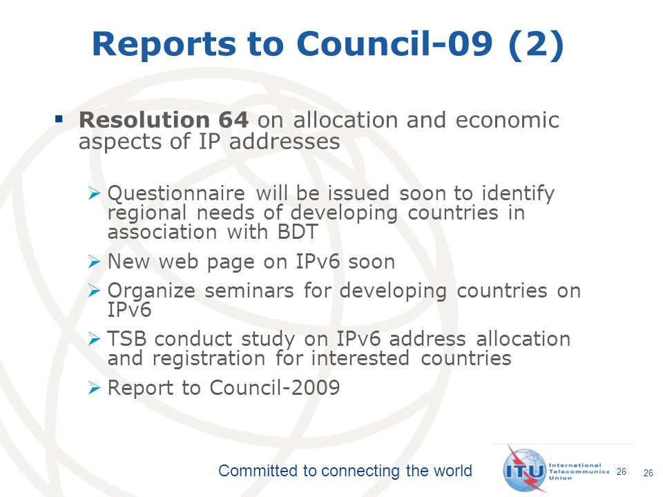 Reports to Council-09 (2) Resolution 64 on allocation and economic aspects of IP addresses.