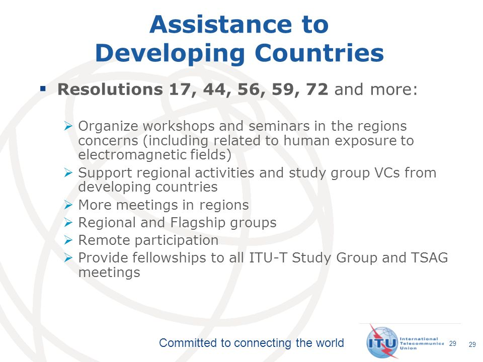 Assistance to Developing Countries