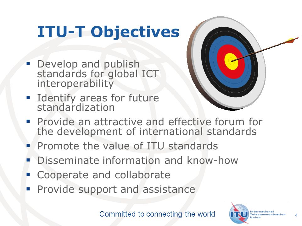 ITU-T Objectives Develop and publish standards for global ICT interoperability. Identify areas for future standardization.