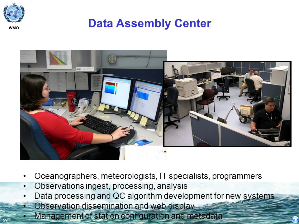 Data Assembly Center Oceanographers, meteorologists, IT specialists, programmers. Observations ingest, processing, analysis.