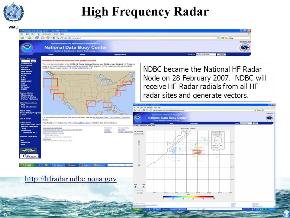 High Frequency Radar http://hfradar.ndbc.noaa.gov
