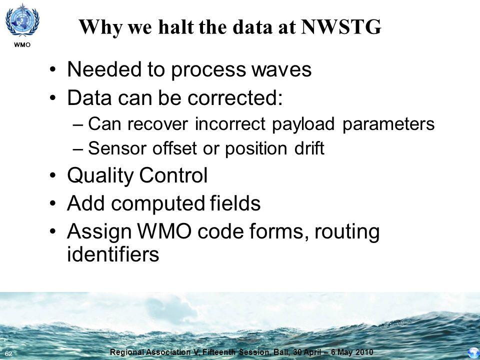 Why we halt the data at NWSTG