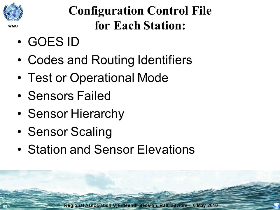 Configuration Control File for Each Station: