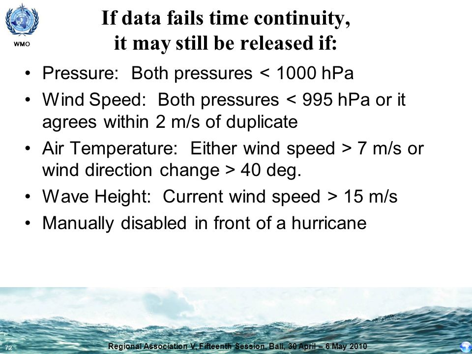 If data fails time continuity, it may still be released if: