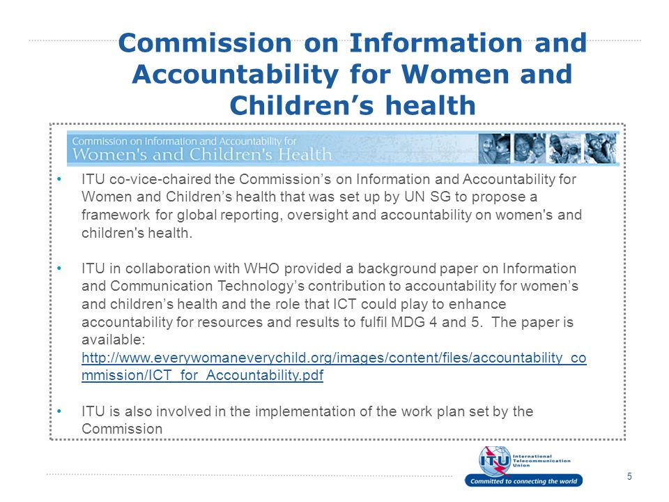 Commission on Information and Accountability for Women and Children's health