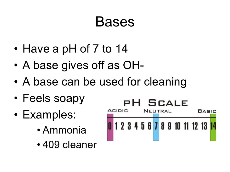 Bases Have a pH of 7 to 14 A base gives off as OH-