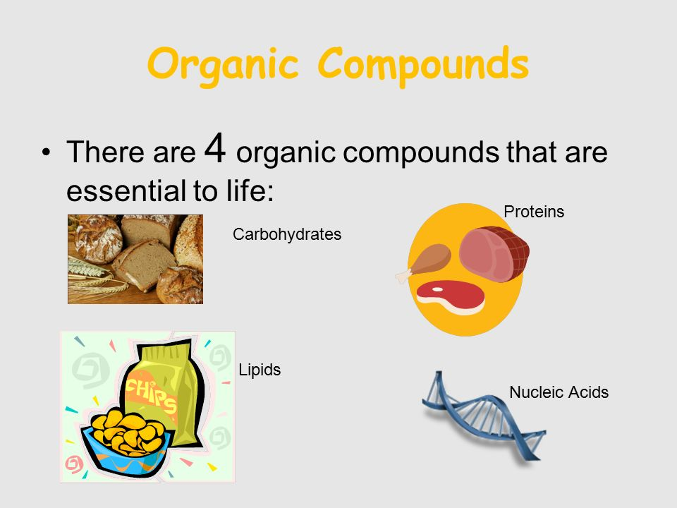 Organic Compounds There are 4 organic compounds that are essential to life: Proteins. Carbohydrates.