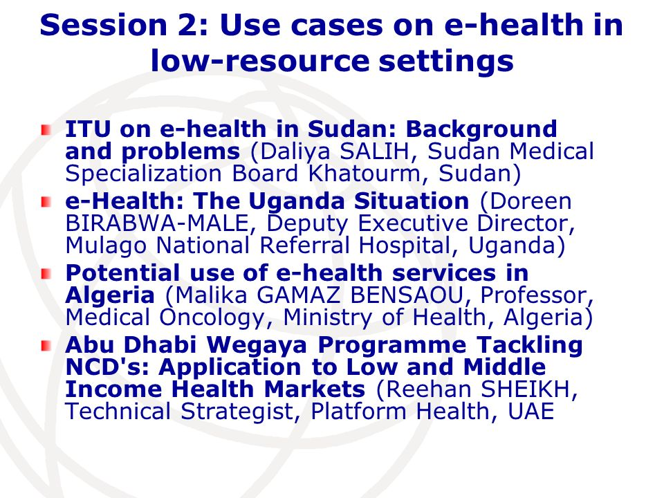 Session 2: Use cases on e-health in low-resource settings