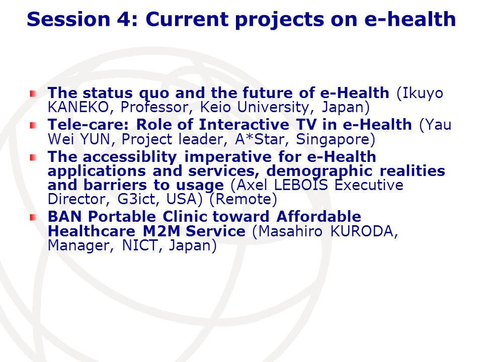 Session 4: Current projects on e-health