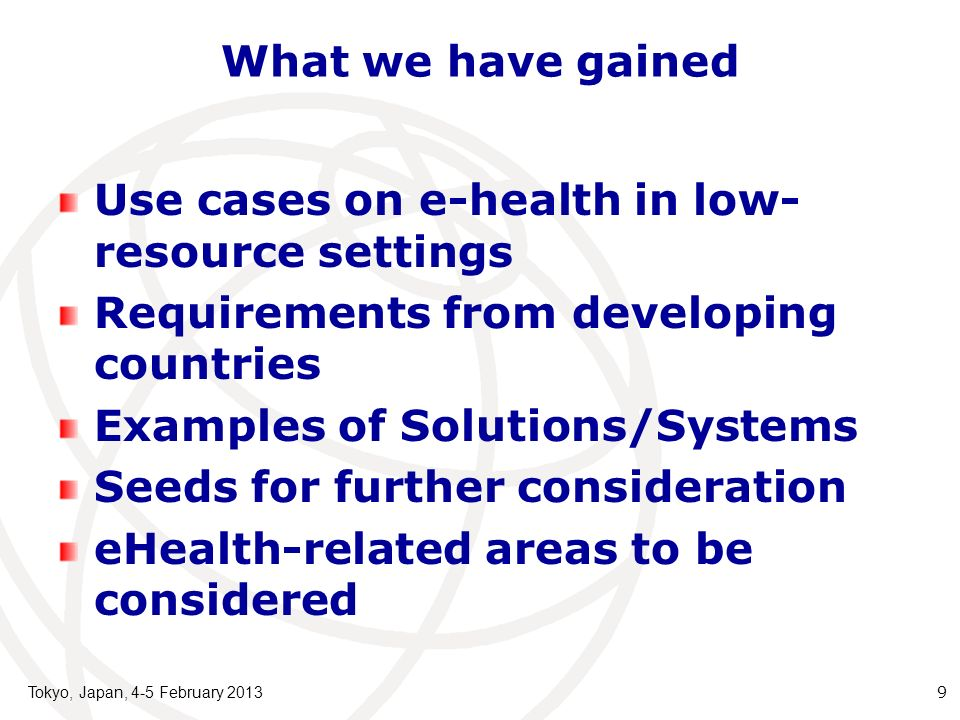 Use cases on e-health in low-resource settings