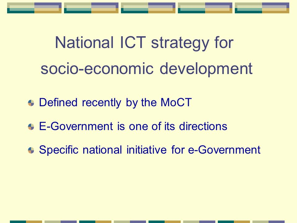 National ICT strategy for socio-economic development