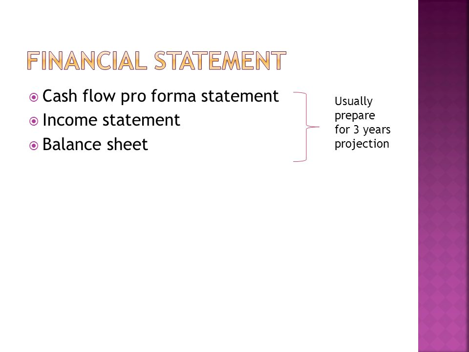 pro forma cash flow statement