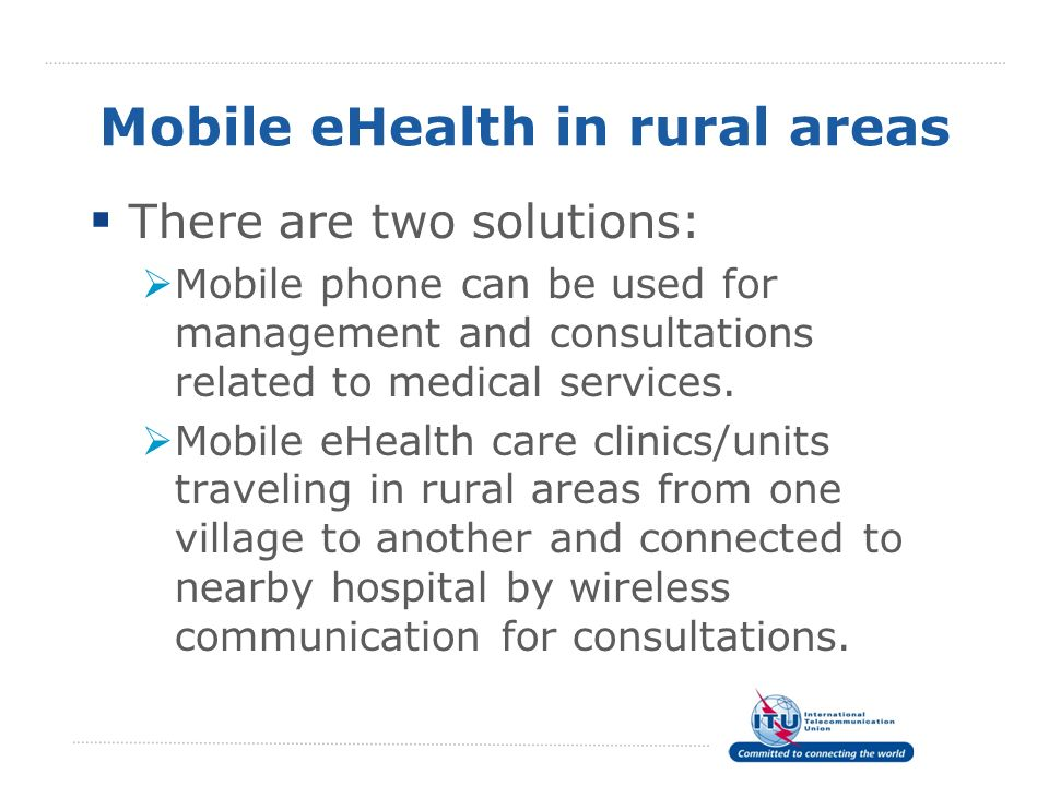 Mobile eHealth in rural areas