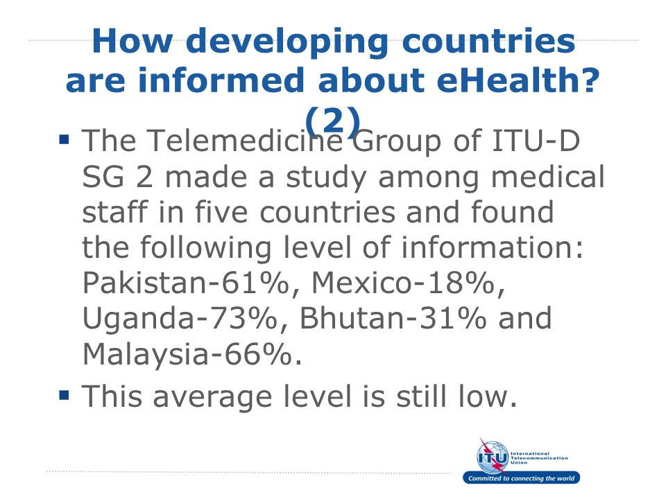 How developing countries are informed about eHealth (2)