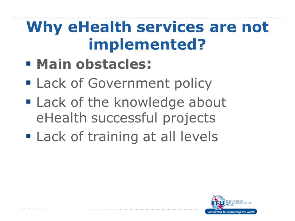 Why eHealth services are not implemented