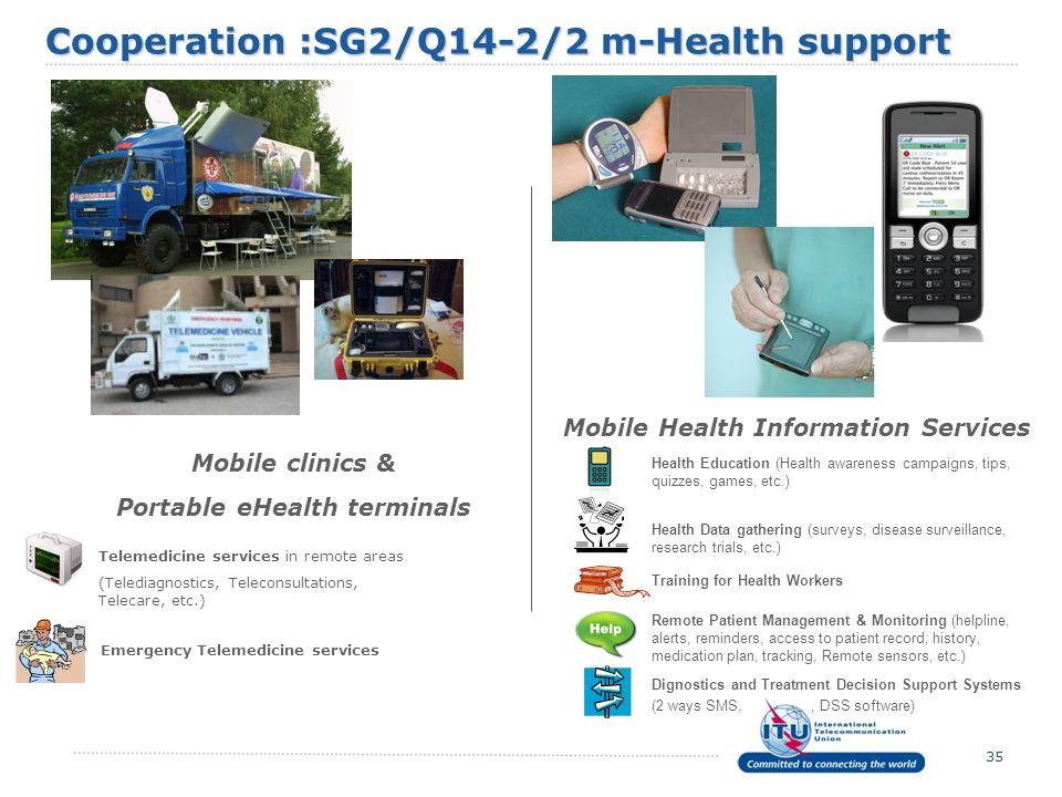 Cooperation :SG2/Q14-2/2 m-Health support Portable eHealth terminals