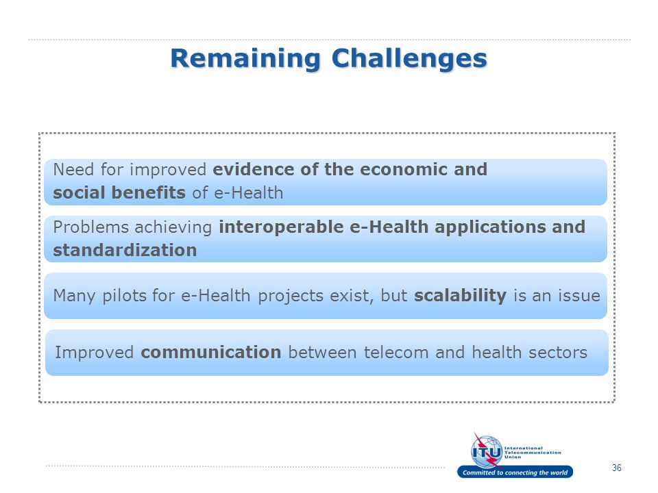 Remaining Challenges Need for improved evidence of the economic and