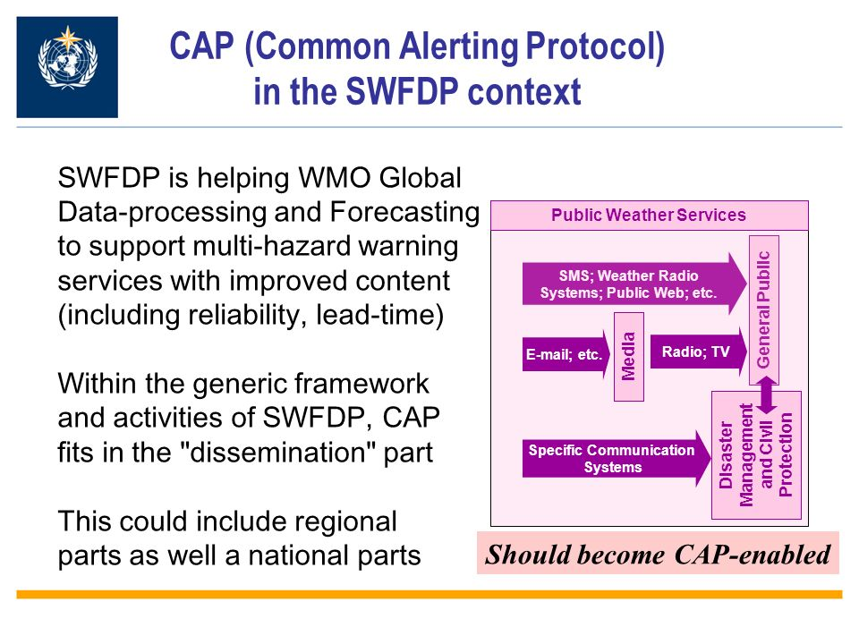 CAP (Common Alerting Protocol) in the SWFDP context