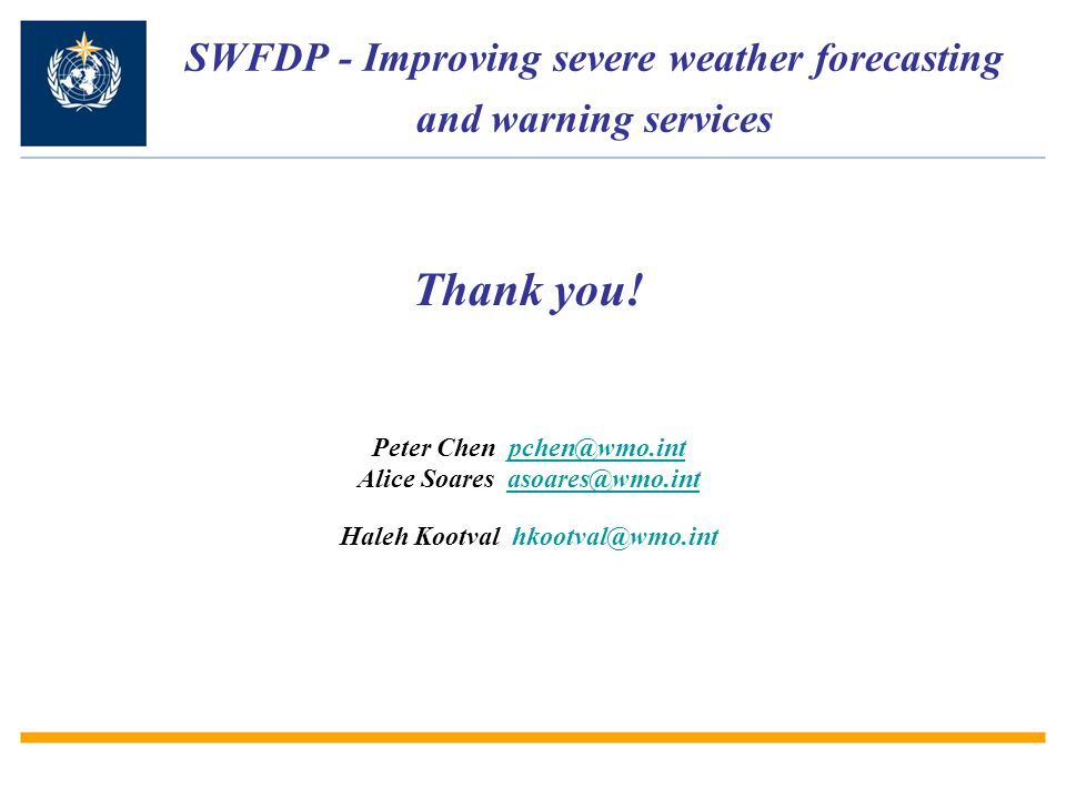 SWFDP - Improving severe weather forecasting and warning services