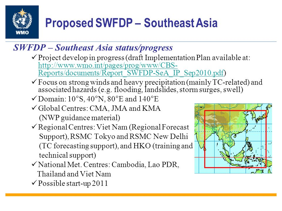 Proposed SWFDP – Southeast Asia