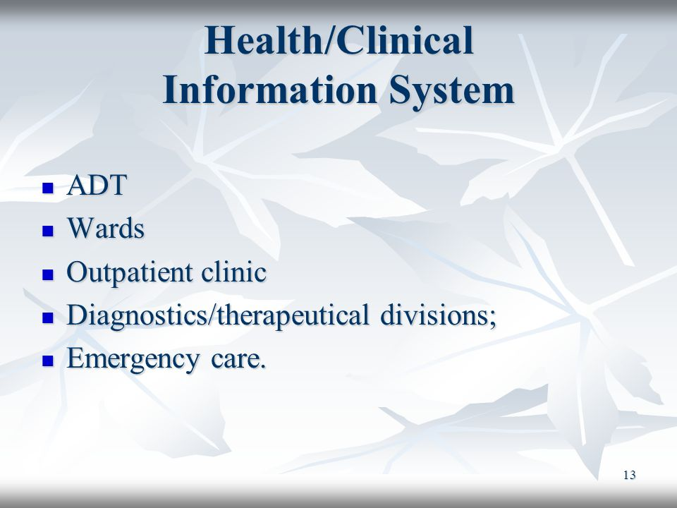 Health/Clinical Information System