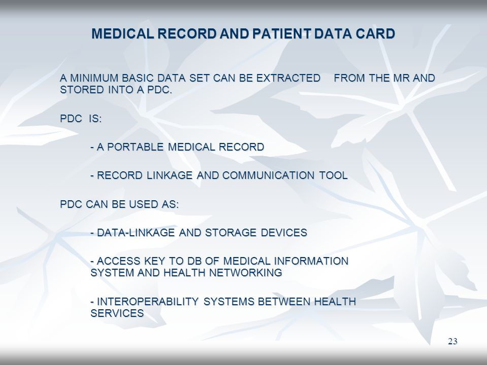 MEDICAL RECORD AND PATIENT DATA CARD