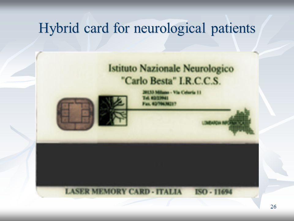 Hybrid card for neurological patients