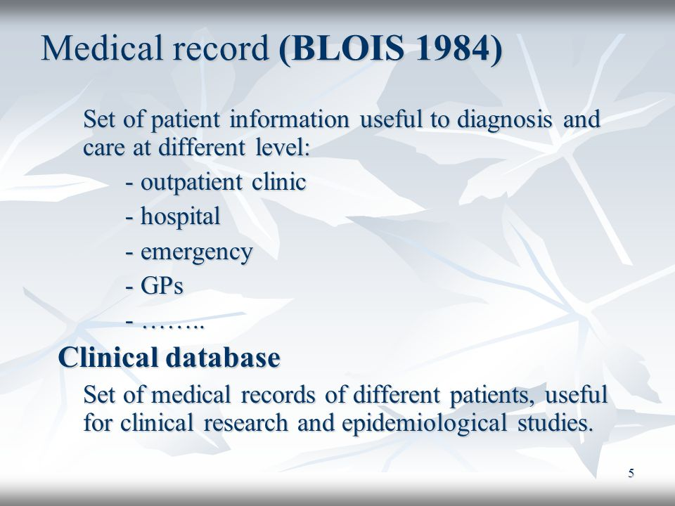 Medical record (BLOIS 1984)