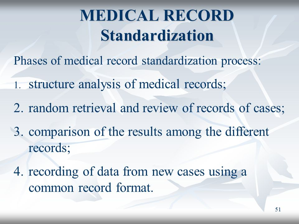 MEDICAL RECORD Standardization