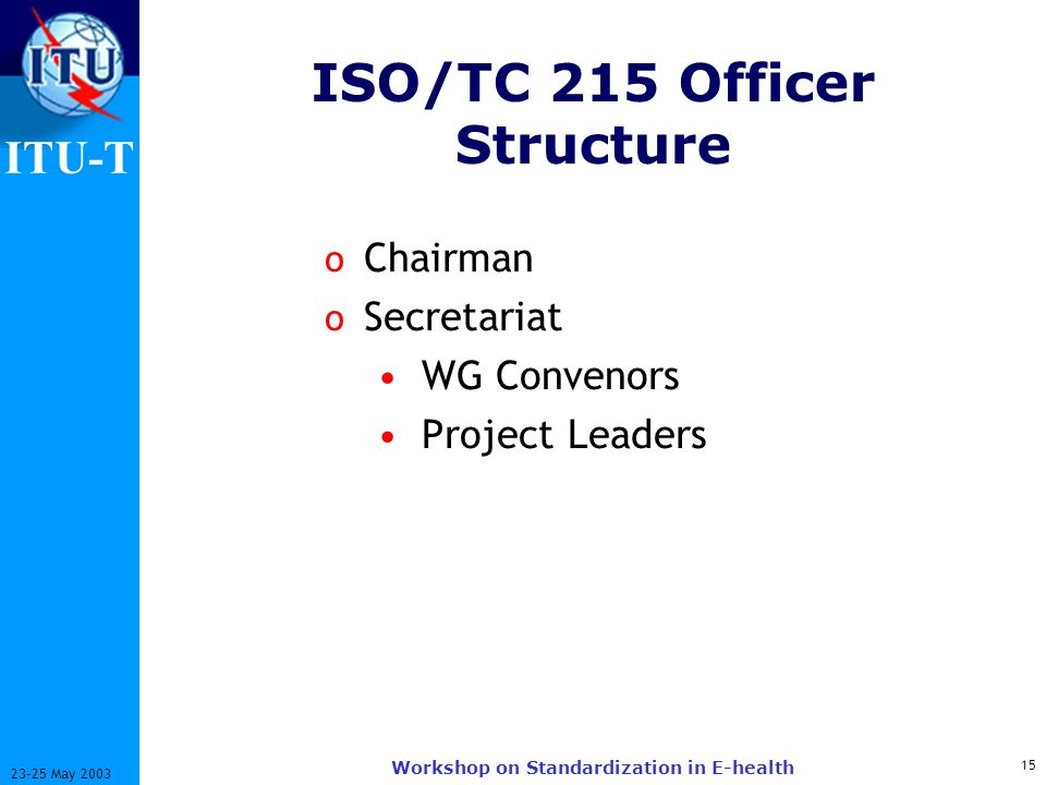 ISO/TC 215 Officer Structure