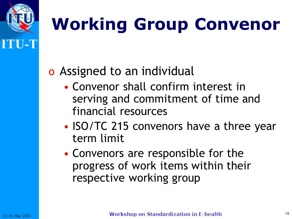 Working Group Convenor