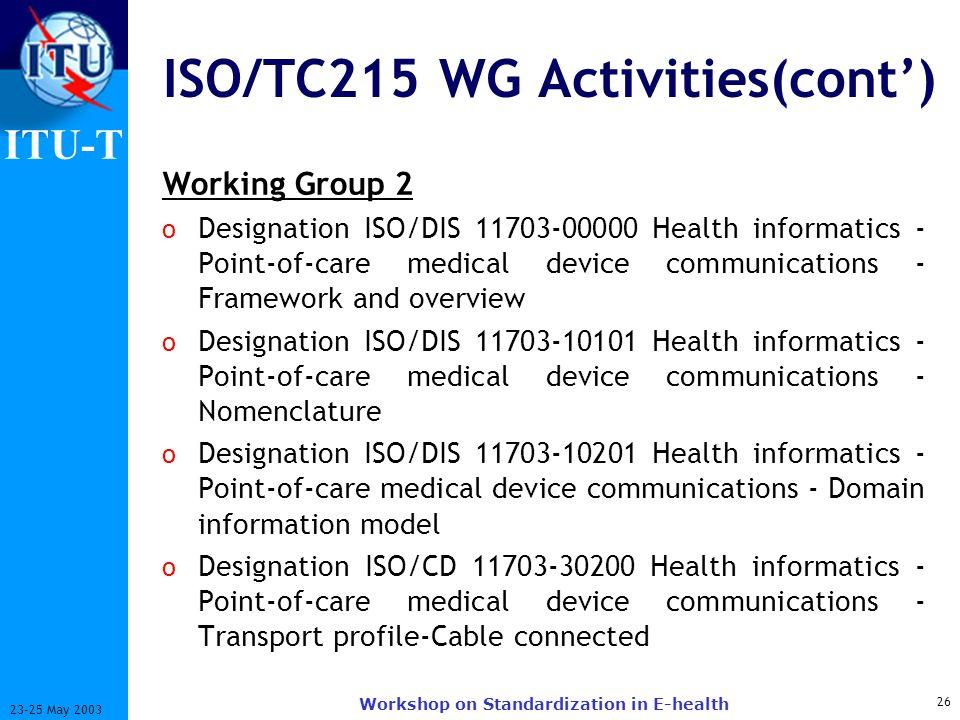 ISO/TC215 WG Activities(cont')
