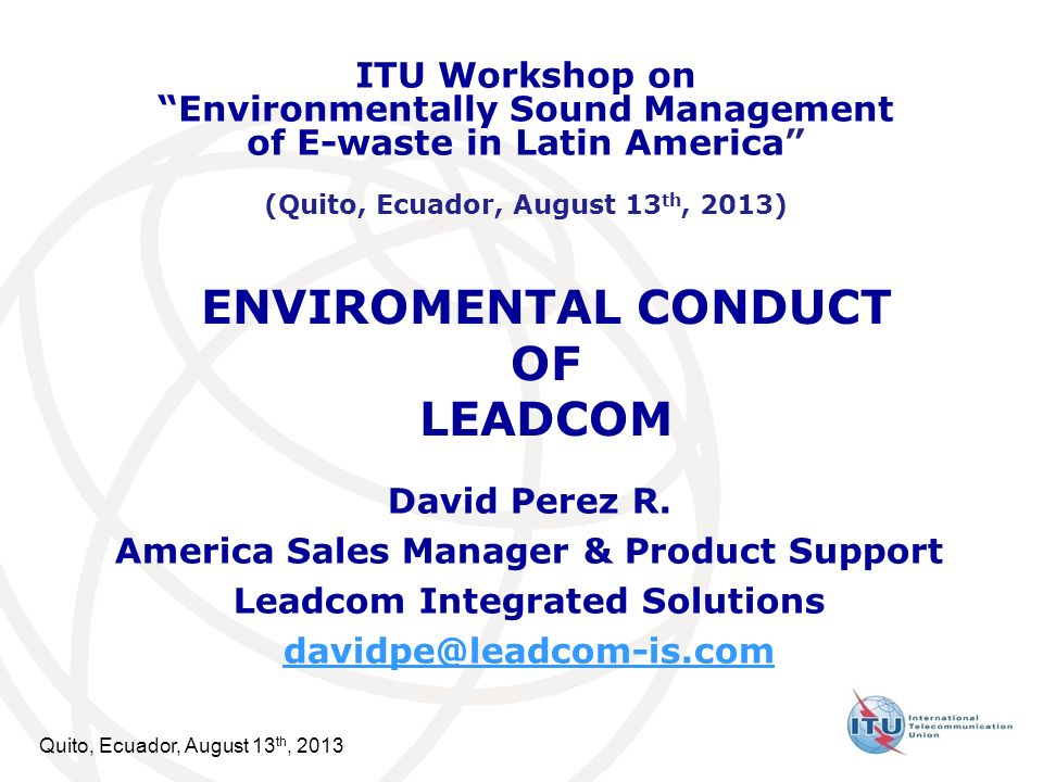 ENVIROMENTAL CONDUCT OF LEADCOM