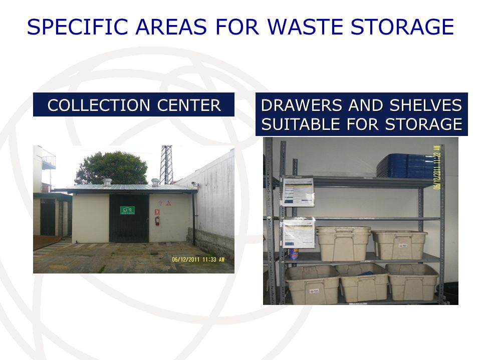 SPECIFIC AREAS FOR WASTE STORAGE