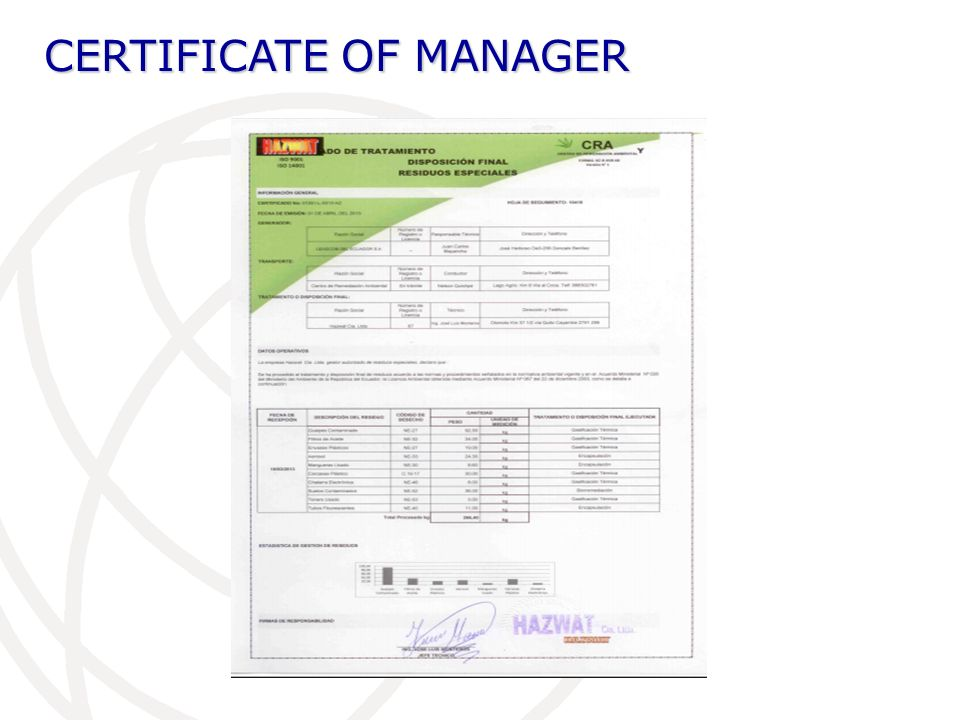 CERTIFICATE OF MANAGER