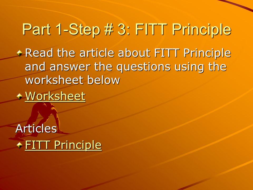 My Fitness Plan Web Quest ppt video online download – Fitt Principle Worksheet