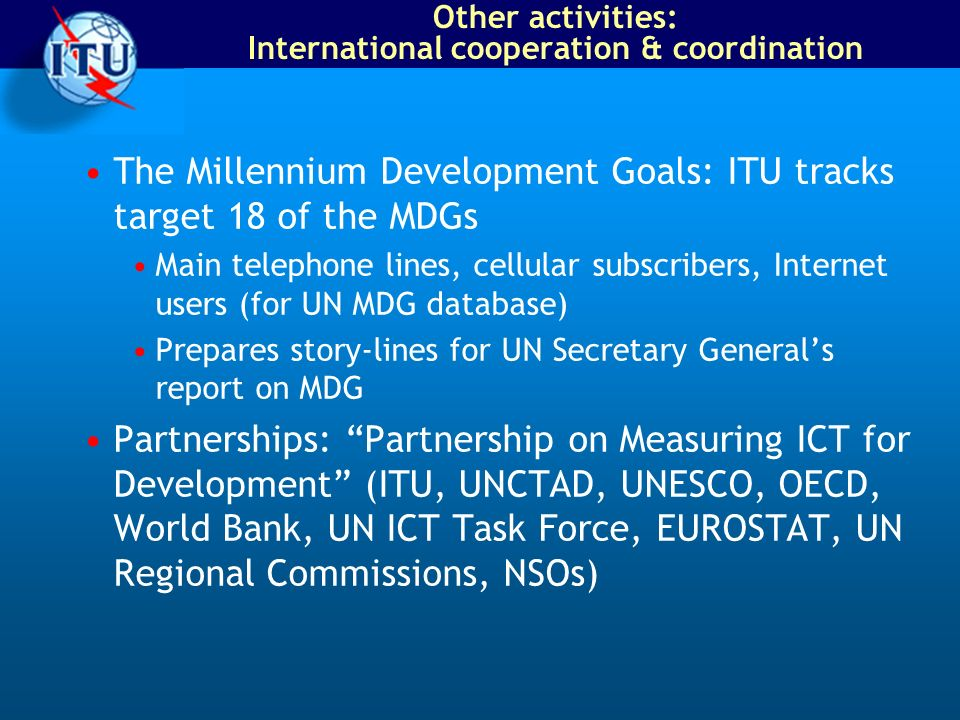 Other activities: International cooperation & coordination